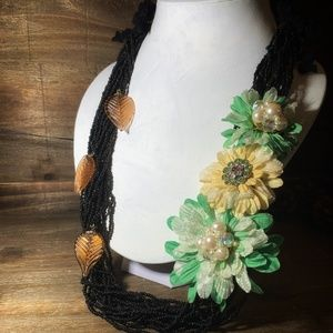 Jewelry - Fabric Floral Statement Necklace